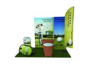 Vista frontale stand golf resort