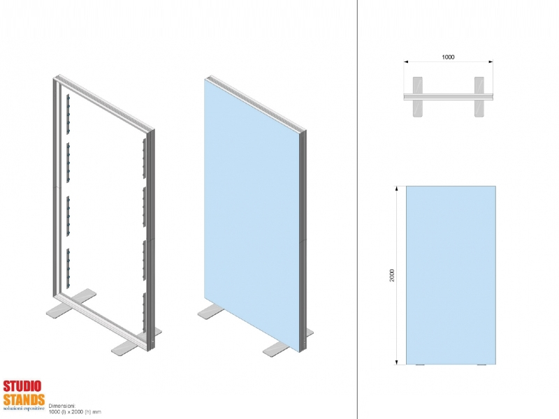 Progetto 3D stand textile frame
